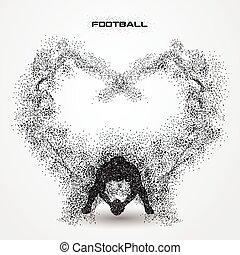 jugador, fútbol, silueta, particle.