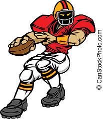 jugador, fútbol, vector, quarterback