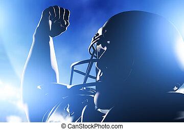 jugador, fútbol, victory., celebrar, norteamericano, raya