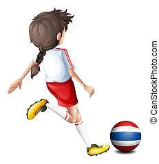 jugador, futbol, hembra, tailandia