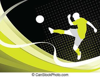 jugador, futbol, silueta