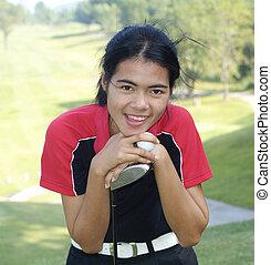 jugador, golf, hembra