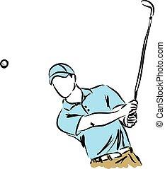 jugador, golfista, golf, ilustración