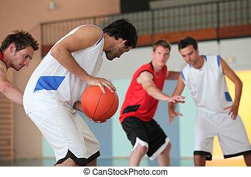 jugador, gotear, baloncesto