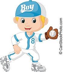jugador, gracioso, bola del béisbol