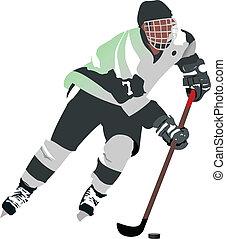 jugador, hockey, hielo