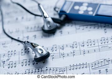 jugador, hoja, mp3, música