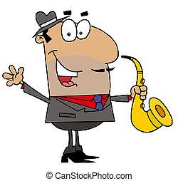 jugador, hombre, hispano, saxófono