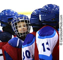 jugador, joven, hockey