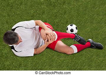 jugador, lesión, futbol, rodilla