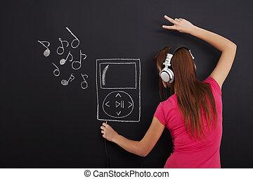 jugador, música, mp3, escuchar