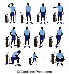 jugador, macho, silueta, ilustración, golf