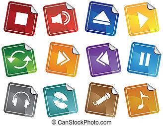 jugador, medios, pegatina, conjunto, icono