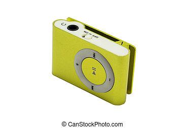 jugador, mp3, amarillo