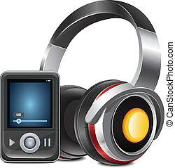 jugador, mp3, auriculares