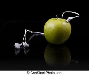 jugador, mp3, verde, natural, manzana