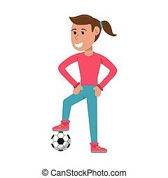jugador, mujer, pelota del fútbol