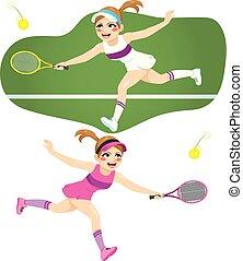jugador, mujer, tenis