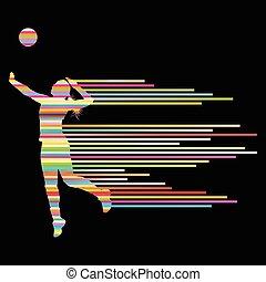 jugador, mujer, vector, voleibol, plano de fondo