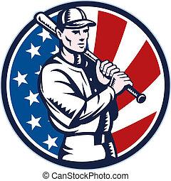 jugador, murciélago, beisball, norteamericano, tenencia