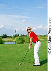 jugador, niña, golf
