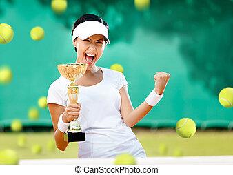 jugador, niña, tenis, ganó, competición