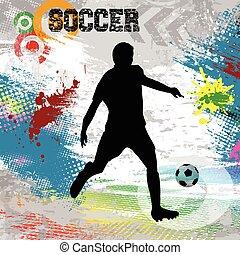 jugador, pelota del fútbol, cartel