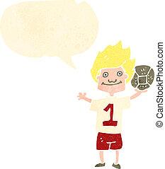jugador, pelota del fútbol, retro, caricatura