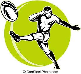 jugador, pelota, rugby, retro, patear