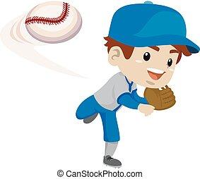 jugador, pelota, tiro del béisbol, niño