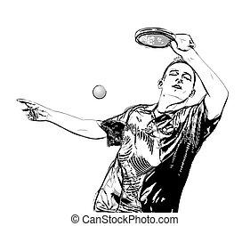 jugador, pong, ping, ilustración
