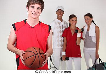 jugador, posar, baloncesto, atletas, otro