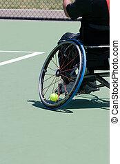 jugador, sílla de ruedas, tenis