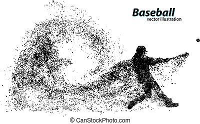 jugador, silueta, beisball, particle.