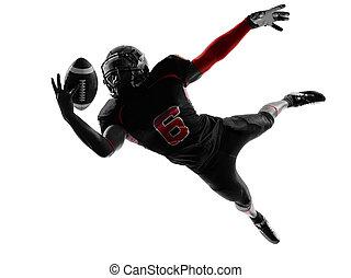 jugador, silueta, bola catching, fútbol, norteamericano