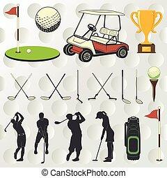 jugador, silueta, golf