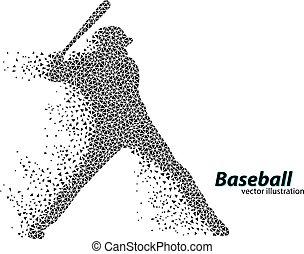 jugador, silueta, triangle., beisball