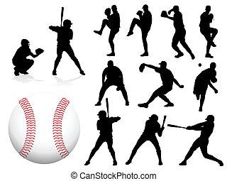 jugador, siluetas, vector, beisball