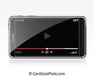jugador, smartphone, vídeo