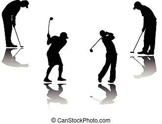 jugador, sombra, golf, plano de fondo