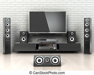 jugador, t, oudspeakers, system., televisión, cinemar, hogar, receptor