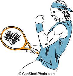 jugador, tenis, ilustración