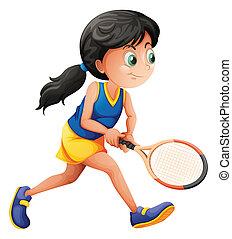 jugador, tenis, joven, hembra, juego
