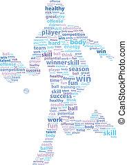 jugador, tenis, palabra, nube, deportes