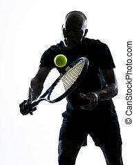 jugador, tenis, revés, hombre