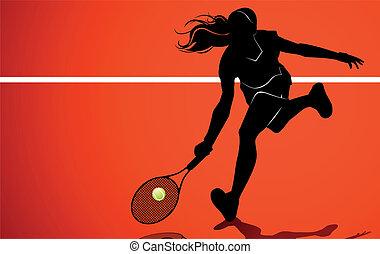 jugador, tenis, silueta