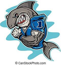 jugador, tiburón, fútbol