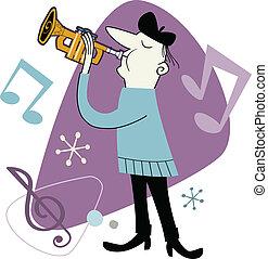 jugador, trompeta, retro, caricatura