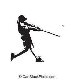 jugador, vector, silueta, beisball, aislado, golpear, ...