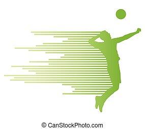 jugador, vector, silueta, voleibol